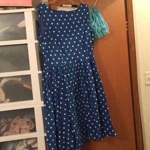 Blue and White retro a line dress